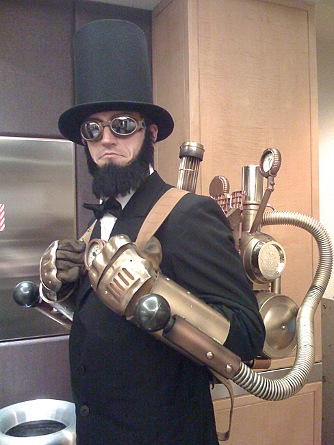 SteamPunk Abe Lincoln costume with steam powered pneumatic pile-drivers